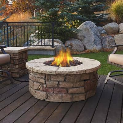 Sedona 43 in. x 17 in. Round Fiber-Concrete Propane Fire Pit in Buff with Natural Gas Conversion Kit