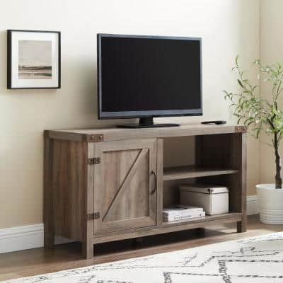 16 in. Gray Wash Composite TV Stand 52 in. with Doors
