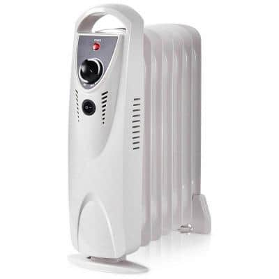 700-Watt Portable Electric Oil-Filled Space Heater with Thermostat Room Radiant Heat