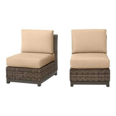Fernlake Taupe Wicker Armless Middle Outdoor Patio Sectional Chair with Sunbrella Beige Tan Cushions (2-Pack)