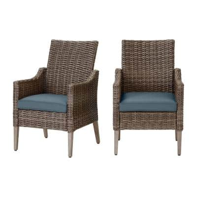 Rock Cliff Brown Wicker Outdoor Patio Stationary Dining Chair with Sunbrella Denim Blue Cushions (2-Pack)