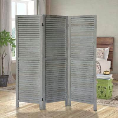 5.57 ft. Distressed White 3-Panel Foldable Wooden Room Divider Privacy Screen with Plank Style and Hinges