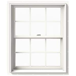 29.375 in. x 36 in. W-2500 Series White Painted Clad Wood Double Hung Window w/ Natural Interior and Screen