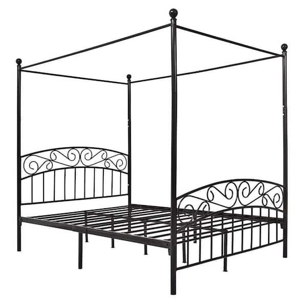 Boyel Living Black Queen Size Metal, Queen Metal Bed Frame With Headboard No Footboard