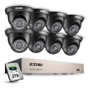 8-Channel 1080p 2TB Hard Drive DVR Security Camera System with 8-Wired Black Dome Cameras