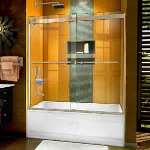 Sapphire 56 in. to 60 in. W x 60 in. H Semi-Frameless Bypass Tub Door in Brushed Nickel