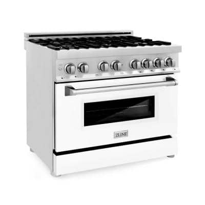 ZLINE 36 in. 4.6 cu. ft. Dual Fuel Range with Gas Stove and Electric Oven in Stainless Steel and White Matte Door