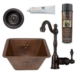 Bronze 16 Gauge Copper 15 in. Dual Mount Fleur De Lis Bar Sink with Faucet and Strainer Drain