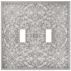 Momfort 2 Gang Toggle Metal Wall Plate - Satin Nickel