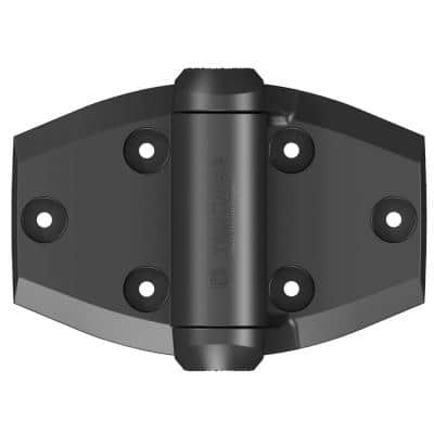 D&D 5-1/8 in. x 3-3/4 in. Black Self-Closing Vinyl and Wood Gate Hinge (2-Piece)