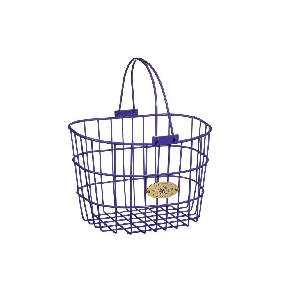 Nantucket Surfside Adult Wire D Handlebar Basket Shopping Basket With Lid White
