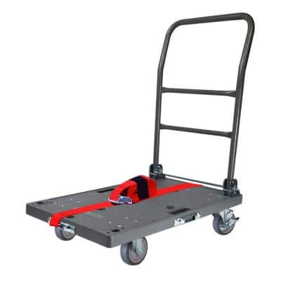 500 lbs. Capacity DIY Easy-Move Folding Push Cart with Strap Kit and 4 in. Thermoplastic Swivel Non-Marking Casters