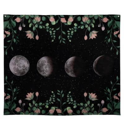 Multi Moon Phases with Floral Border Wall Tapestry