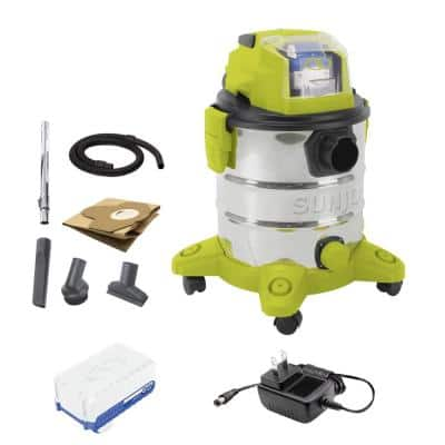 5.2 Gal. 24-Volt iON+ Cordless Portable Stainless Steel Wet/Dry Vacuum Kit with 4.0 Ah Battery Plus Charger