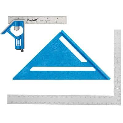 6 in. Pocket Combination Square and 7 in. Polycast Rafter Square with 16 in. x 24 in. Steel Framing Square