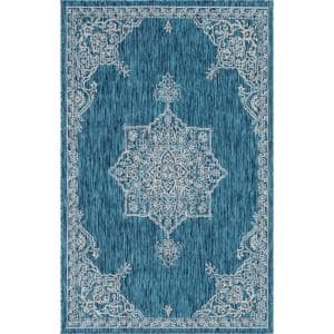 Teal Antique Outdoor 6 ft. x 9 ft. Area Rug