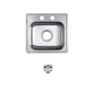22 Gauge Stainless Steel 15 in. 2-Hole Drop-in Bar Sink with Drain Assembly