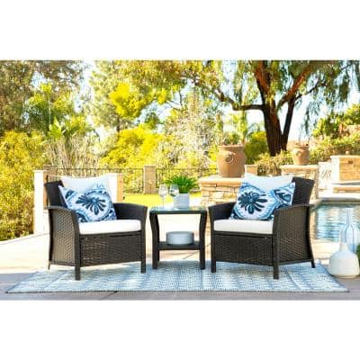 Tanner Brown 3-Piece Wicker Square Outdoor Bistro Set with Off White Cushions