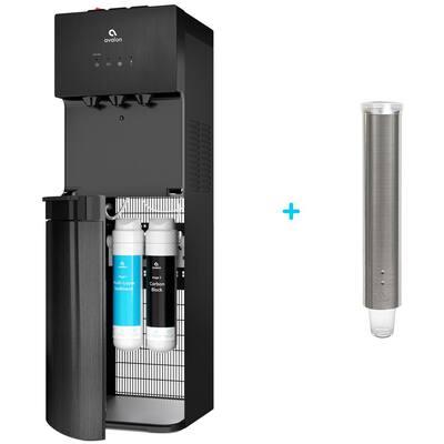 A5 Stainless Steel Bottleless Water Cooler Dispenser Plus Cup Dispenser in Black
