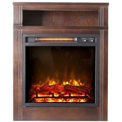 22.4 in. Infrared Electric Fireplace Heater in Brown