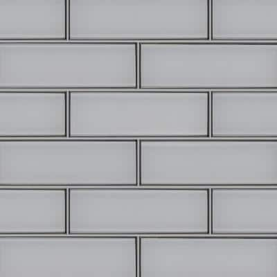 Ice Beveled 12 in. x 4 in. x 8mm Glass White Subway Tile (0.33 sq. ft.)