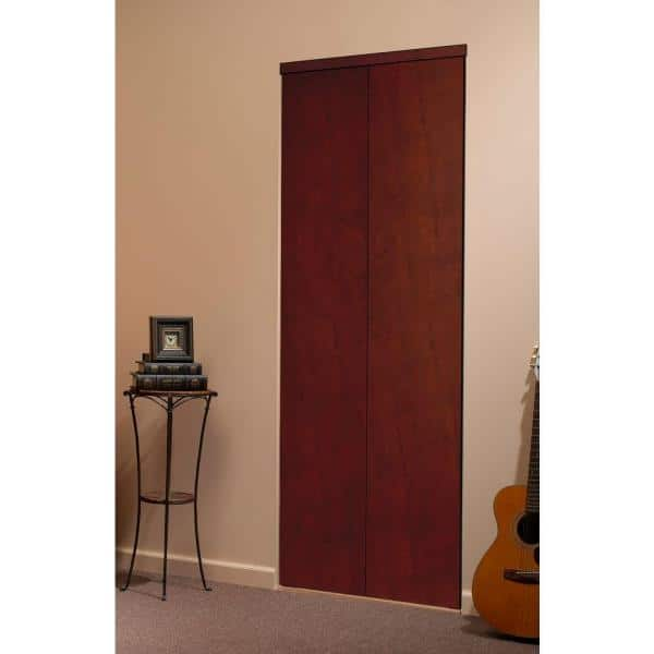 Impact Plus 36 In X 84 In Smooth Flush Solid Core Cherry Mdf Interior Closet Bi Fold Door With Matching Trim Bfc342 3684m The Home Depot