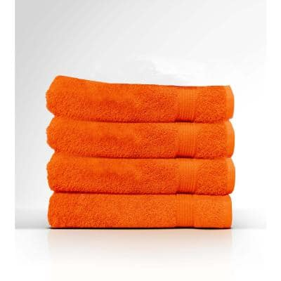 4-Piece Orange Geometric 100% Cotton Bath Towel Set