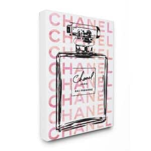 30 in. x 40 in. ''Glam Perfume Bottle With Words Pink Black'' by Amanda Greenwood Printed Canvas Wall Art