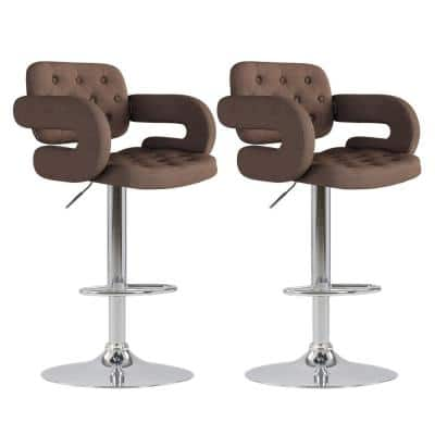 Adjustable Height Tufted Dark Brown Fabric Bar Stool (Set of 2)