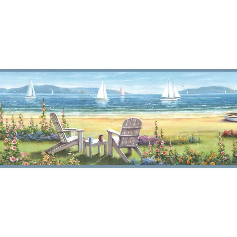Chesapeake Barnstable Blue Seaside Cottage Blue Wallpaper Border Dlr20021b The Home Depot