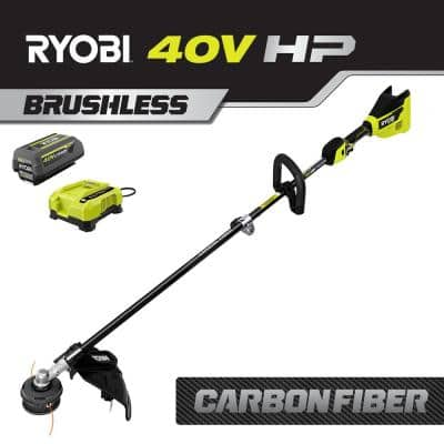 HP 40V Brushless Cordless Carbon Fiber Shaft Attachment Capable String Trimmer - 4.0 Ah Battery and Charger Included