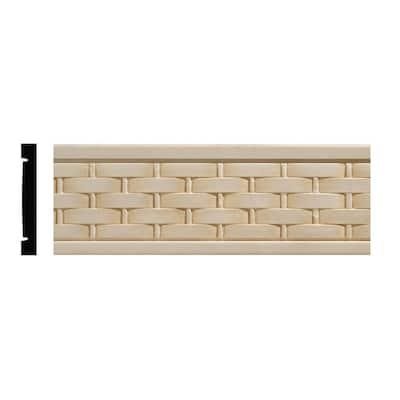 990 11/32 in. x 2-1/2 in. x 96 in. White Hardwood Embossed Basketweave Chair Rail Moulding