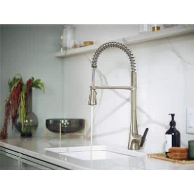 Sinema Single-Handle Pull-Down Sprayer Kitchen Faucet with Power Clean and Spring Spout in Spot Resist Stainless