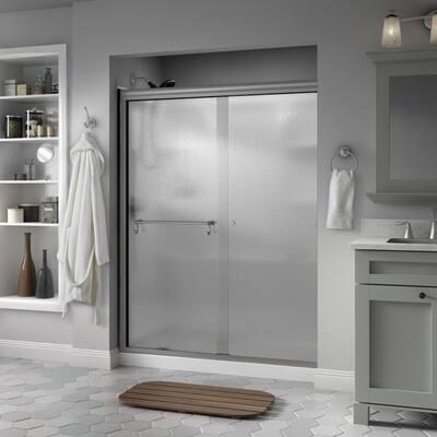 Portman 60 in. x 70 in. Semi-Frameless Traditional Sliding Shower Door in Nickel with Rain Glass