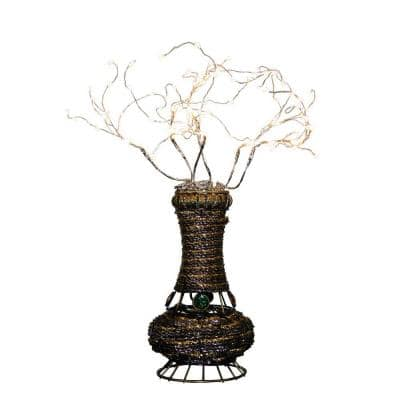 20 in. H Copper Tree Wire Table Lamp with White LED