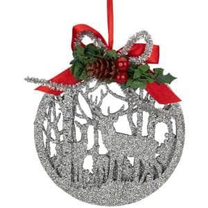 4.5 in. 2-D Silver Glitter Reindeer Family Silhouette Christmas Ornament