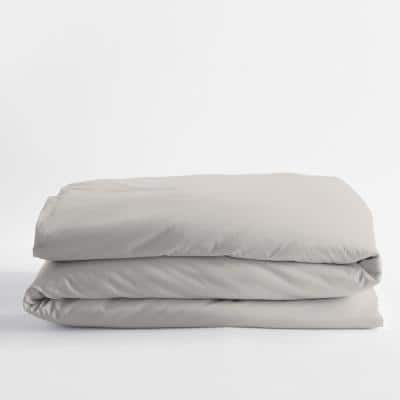Legends Luxury Solid Sterling Gray Cotton Sateen Oversized King Duvet Cover