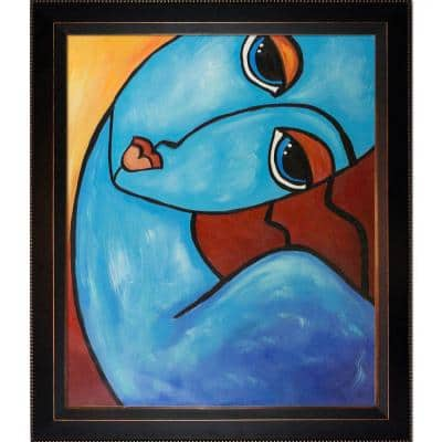 """""""Picasso by Nora, Feeling Blue with Veine D'Or Bronze Angled Frame"""" by Nora Shepley Canvas Print"""