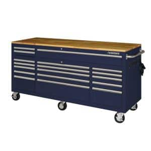 72 in. 18-Drawer Mobile Workbench with Solid Wood Top in Gloss Blue