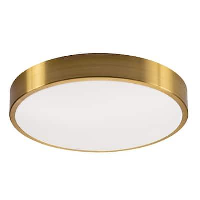 Octavia 12 in. 2-Light Satin Brass LED Flush Mount