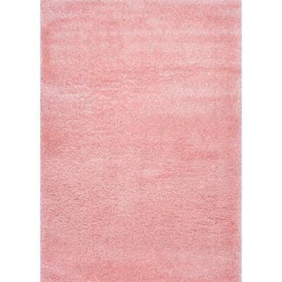 Gynel Solid Shag Baby Pink 3 ft. x 5 ft. Area Rug