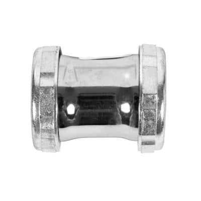 1-1/2 in. x 2 in. 20-Gauge Chrome-Plated Brass Double Slip-Joint Compression Coupling