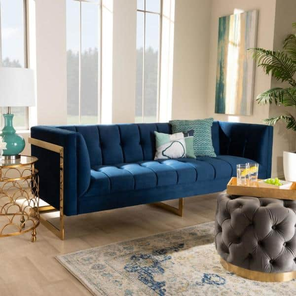 Baxton Studio Ambra 83 5 In Royal Blue Gold Fabric 3 Seater Tuxedo Sofa With Square Arms 156 8866 Hd The Home Depot