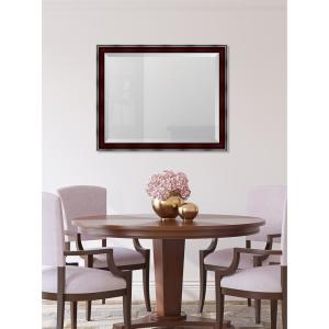 Medium Rectangle Mahogany Beveled Glass Classic Mirror (32 in. H x 26 in. W)