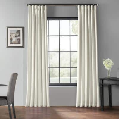 Off White Textured Rod Pocket Blackout Curtain - 50 in. W x 96 in. L