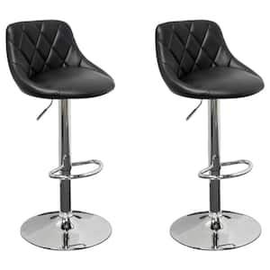 Westchester Black Faux Leather Adjustable Swivel Bar Stools (Set of 2)