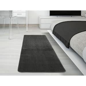 Solid Design Gray 2 ft. 2 in. x 6 ft. Non-Slip Bathroom Rug Runner