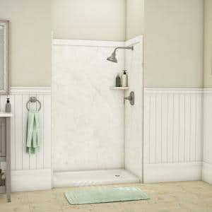 Elegance 36 in. x 48 in. x 80 in. 9-Piece Easy Up Adhesive Alcove Shower Wall Surround in Botticino Cream