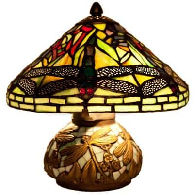 10 in. Green Table Lamp with Stained Glass Shade and Mosaic Base