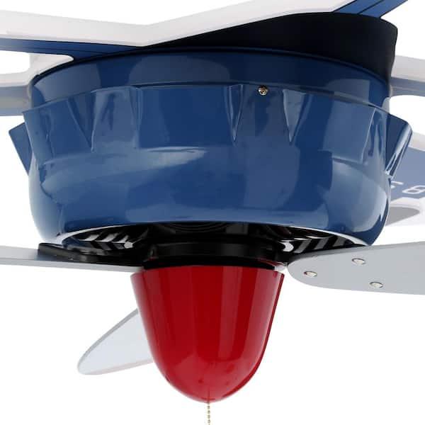 Hunter Fantasy Flyer 48 In Indoor Blue Flush Mount Ceiling Fan Bundled With Handheld Remote Control 59031r The Home Depot
